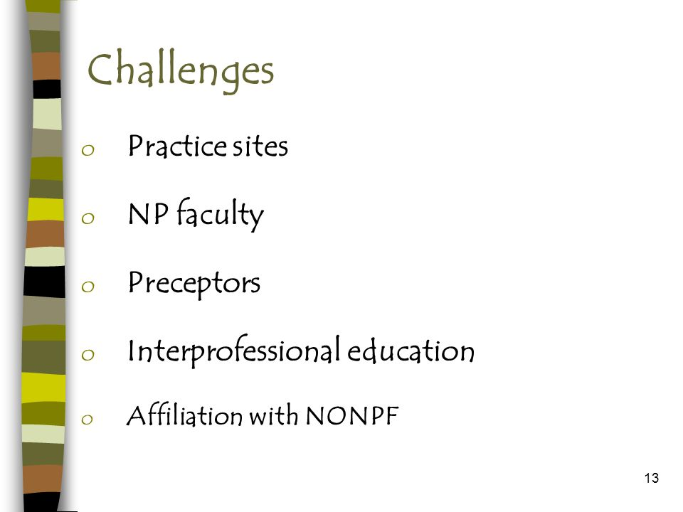 13 Challenges o Practice sites o NP faculty o Preceptors o Interprofessional education o Affiliation with NONPF