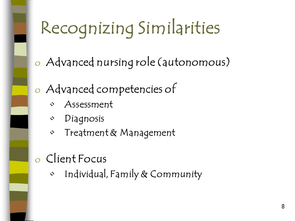 8 Recognizing Similarities o Advanced nursing role (autonomous) o Advanced competencies of Assessment Diagnosis Treatment & Management o Client Focus Individual, Family & Community