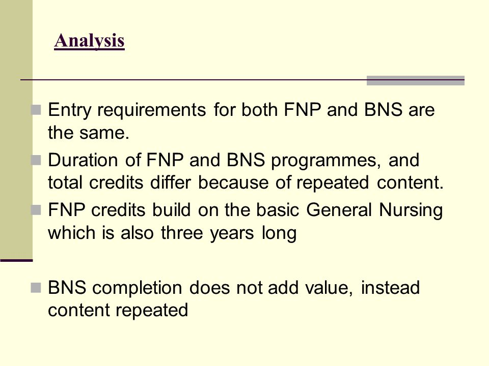 Analysis Entry requirements for both FNP and BNS are the same.