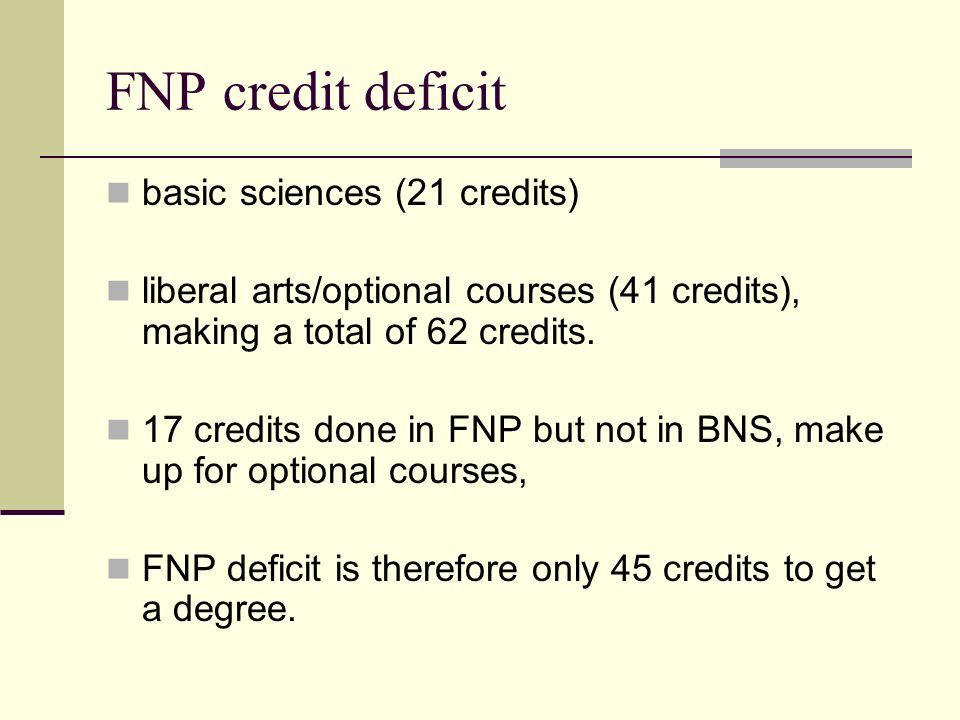 FNP credit deficit basic sciences (21 credits) liberal arts/optional courses (41 credits), making a total of 62 credits.