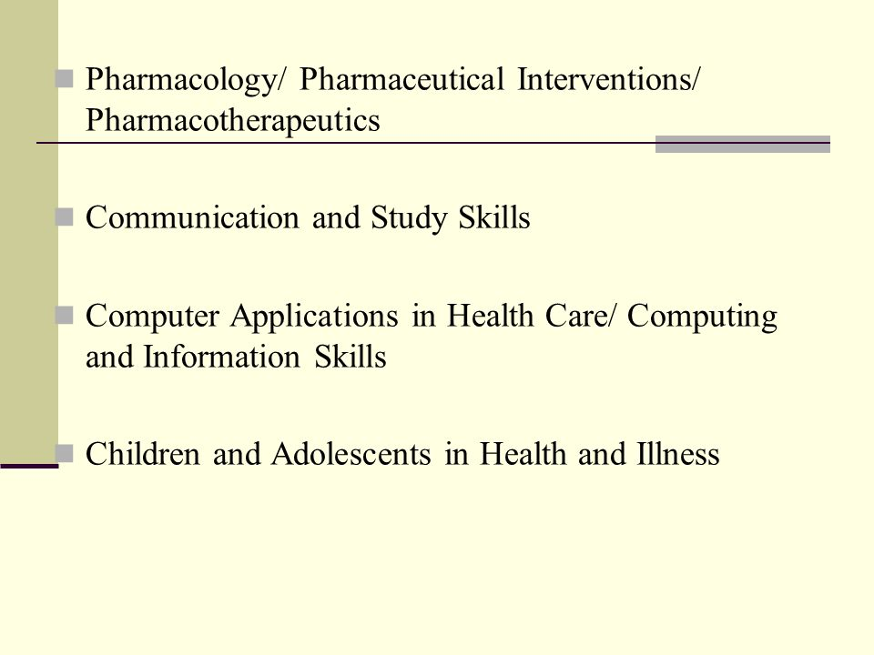Pharmacology/ Pharmaceutical Interventions/ Pharmacotherapeutics Communication and Study Skills Computer Applications in Health Care/ Computing and Information Skills Children and Adolescents in Health and Illness