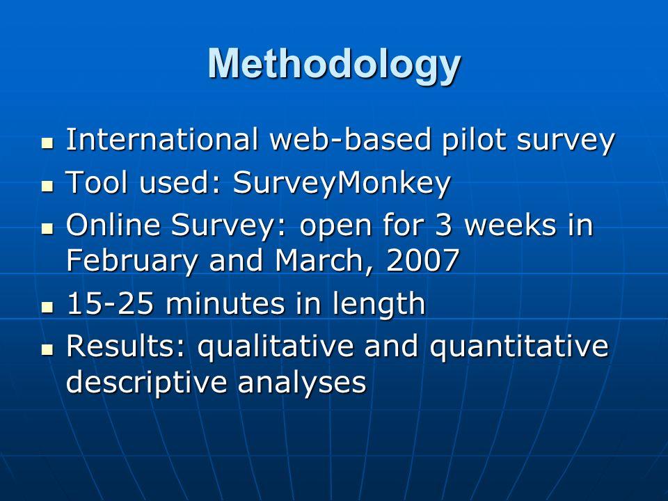 Methodology International web-based pilot survey International web-based pilot survey Tool used: SurveyMonkey Tool used: SurveyMonkey Online Survey: o