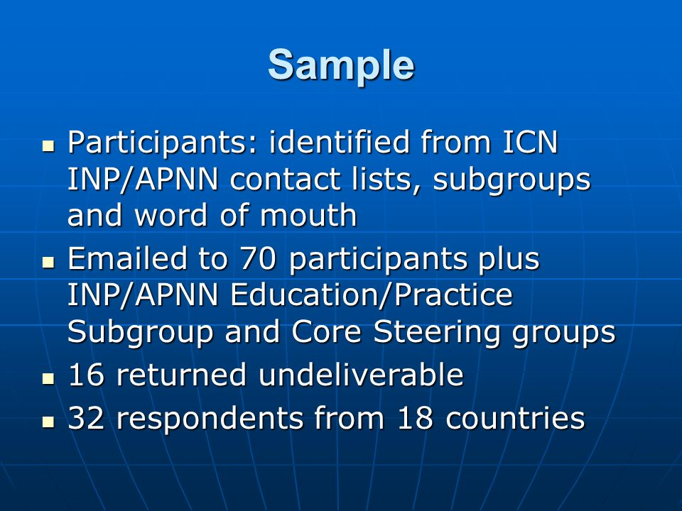 Sample Participants: identified from ICN INP/APNN contact lists, subgroups and word of mouth Participants: identified from ICN INP/APNN contact lists,