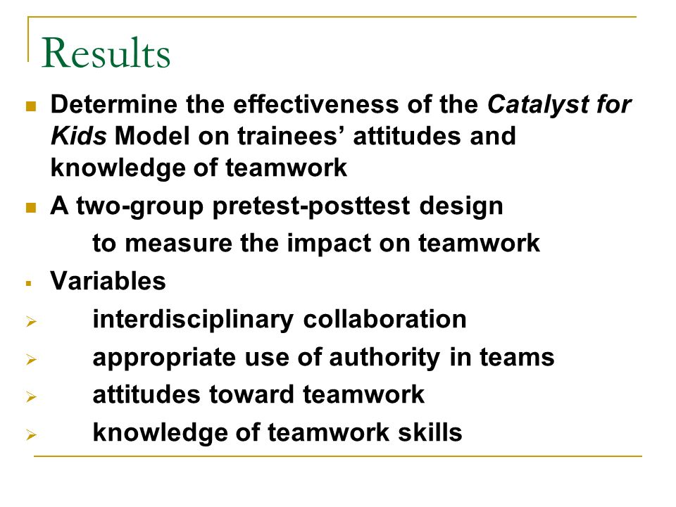 Results Determine the effectiveness of the Catalyst for Kids Model on trainees attitudes and knowledge of teamwork A two-group pretest-posttest design to measure the impact on teamwork Variables interdisciplinary collaboration appropriate use of authority in teams attitudes toward teamwork knowledge of teamwork skills