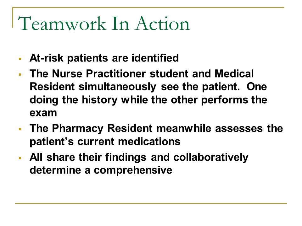 Teamwork In Action At-risk patients are identified The Nurse Practitioner student and Medical Resident simultaneously see the patient.