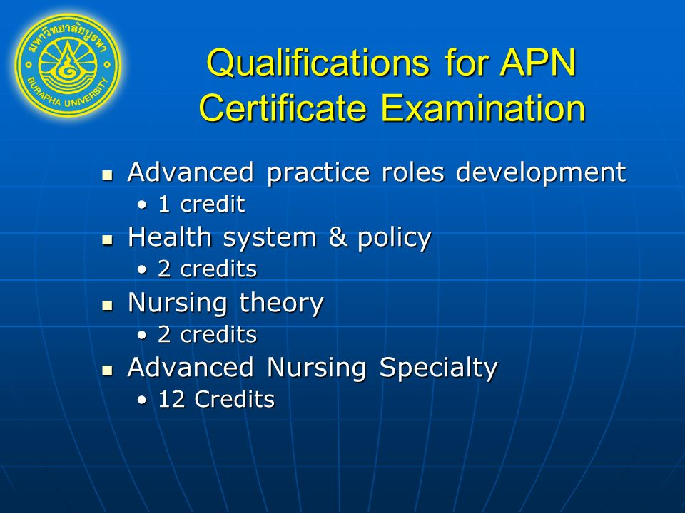 Qualifications for APN Certificate Examination Advanced practice roles development Advanced practice roles development 1 credit1 credit Health system & policy Health system & policy 2 credits2 credits Nursing theory Nursing theory 2 credits2 credits Advanced Nursing Specialty Advanced Nursing Specialty 12 Credits12 Credits