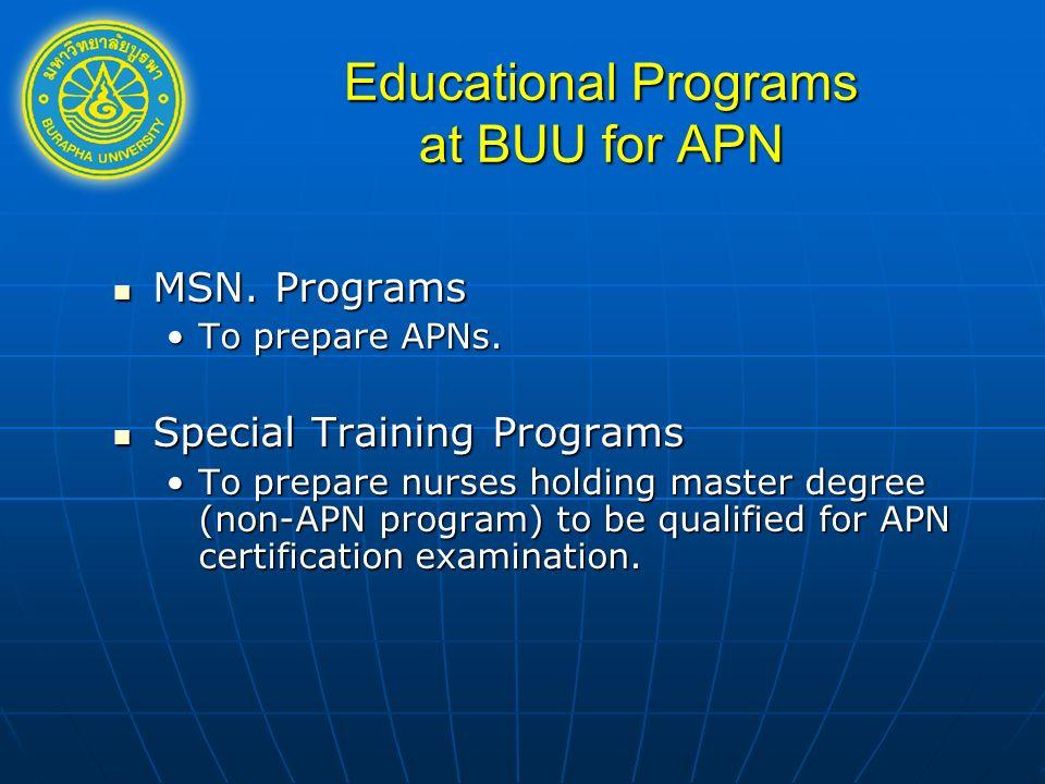 MSN. Programs MSN. Programs To prepare APNs.To prepare APNs. Special Training Programs Special Training Programs To prepare nurses holding master degr