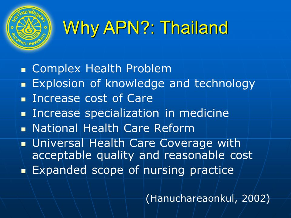 Why APN : Thailand Complex Health Problem Explosion of knowledge and technology Increase cost of Care Increase specialization in medicine National Health Care Reform Universal Health Care Coverage with acceptable quality and reasonable cost Expanded scope of nursing practice (Hanuchareaonkul, 2002)