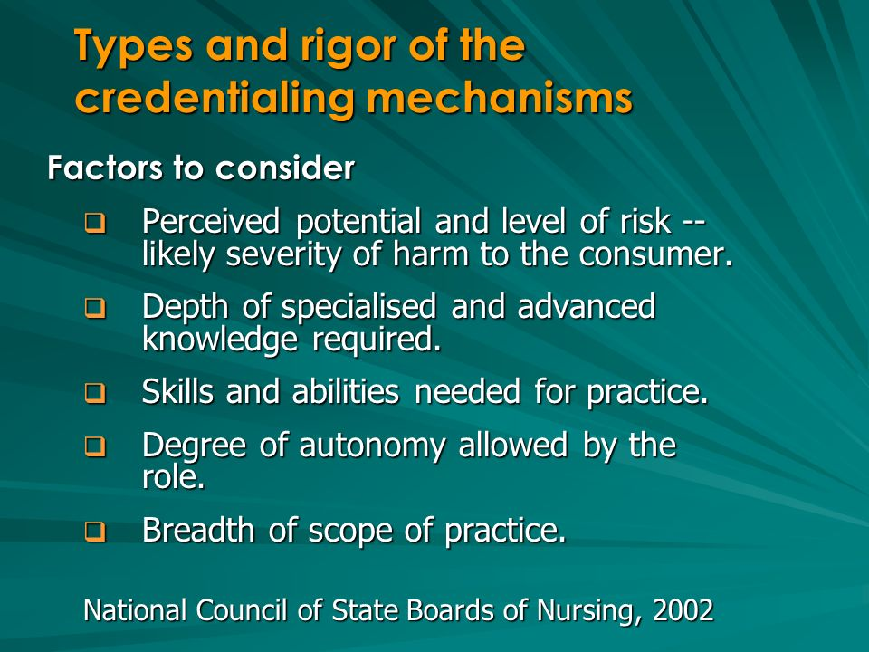 Types and rigor of the credentialing mechanisms Perceived potential and level of risk -- likely severity of harm to the consumer.