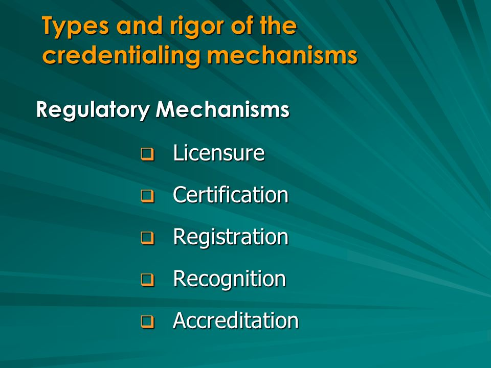 Regulatory Mechanisms Licensure Licensure Certification Certification Registration Registration Recognition Recognition Accreditation Accreditation Ty