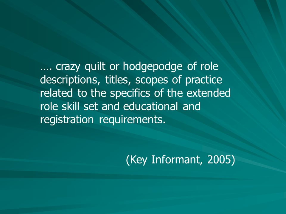 …. crazy quilt or hodgepodge of role descriptions, titles, scopes of practice related to the specifics of the extended role skill set and educational
