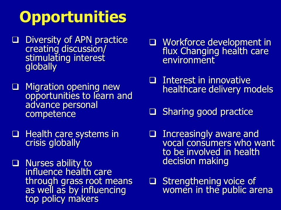 Opportunities Workforce development in flux Changing health care environment Interest in innovative healthcare delivery models Sharing good practice I
