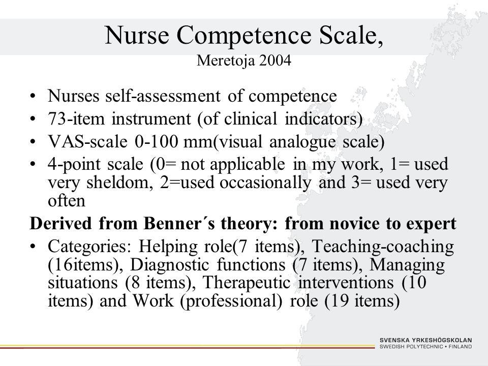 Nurse Competence Scale, Meretoja 2004 Nurses self-assessment of competence 73-item instrument (of clinical indicators) VAS-scale 0-100 mm(visual analo
