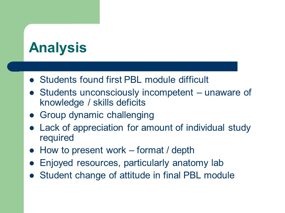 Analysis Students found first PBL module difficult Students unconsciously incompetent – unaware of knowledge / skills deficits Group dynamic challenging Lack of appreciation for amount of individual study required How to present work – format / depth Enjoyed resources, particularly anatomy lab Student change of attitude in final PBL module