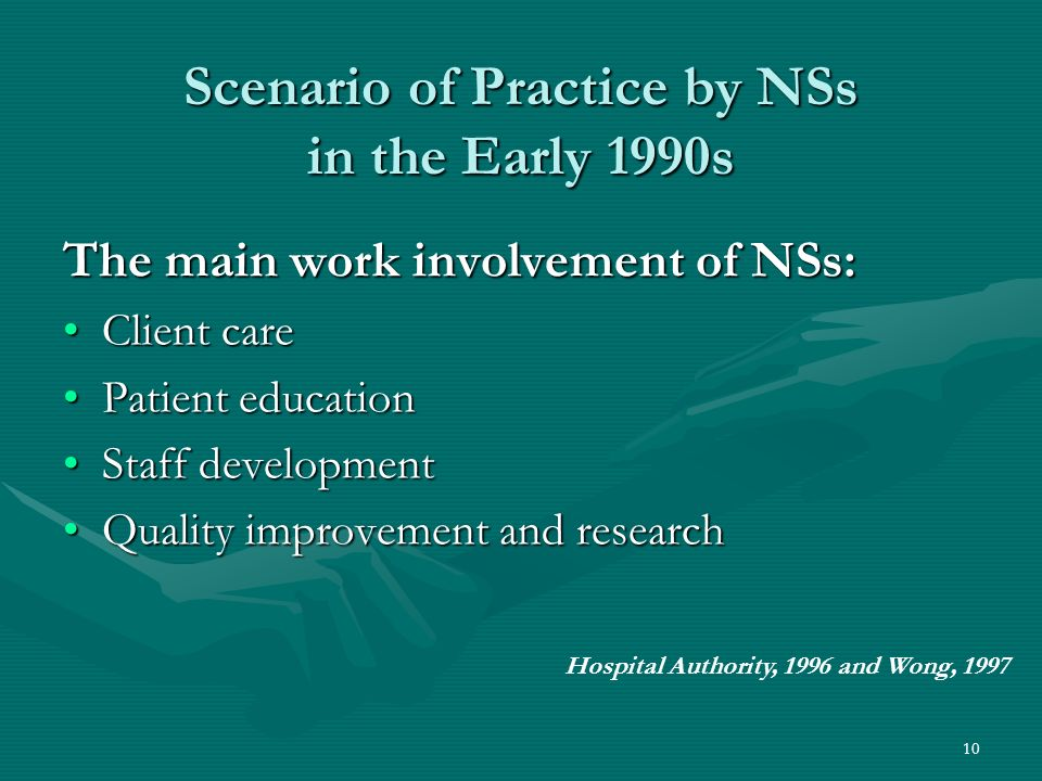 10 Scenario of Practice by NSs in the Early 1990s The main work involvement of NSs: Client careClient care Patient educationPatient education Staff developmentStaff development Quality improvement and researchQuality improvement and research Hospital Authority, 1996 and Wong, 1997