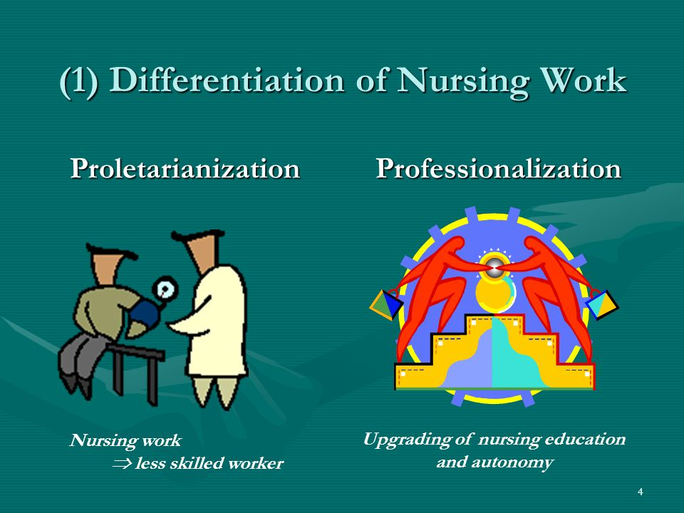 4 (1) Differentiation of Nursing Work ProletarianizationProfessionalization Upgrading of nursing education and autonomy Nursing work less skilled worker