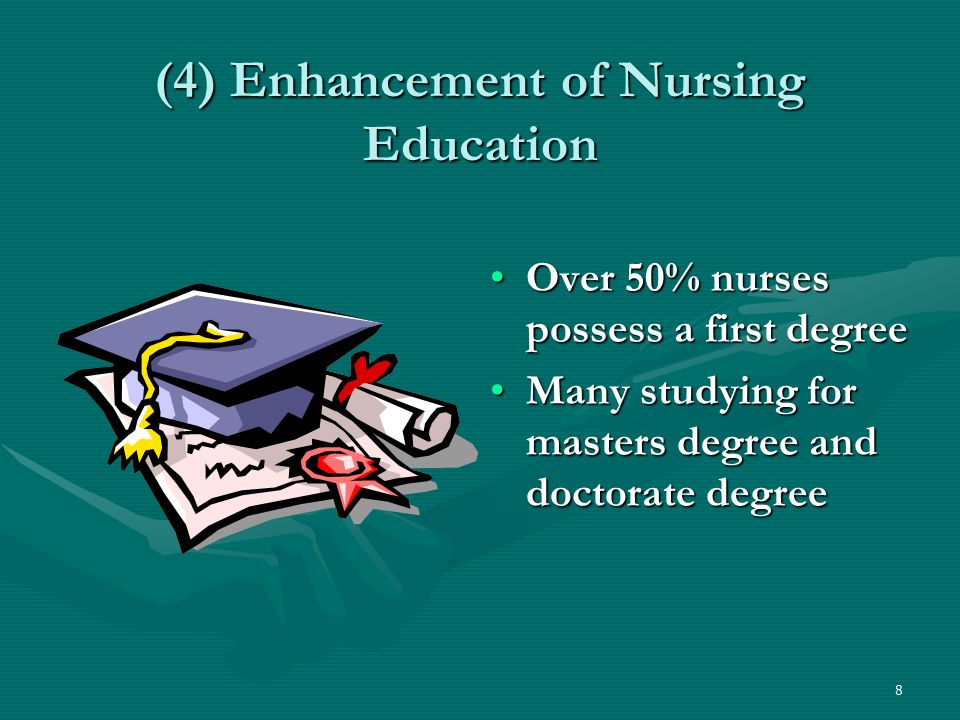 8 (4) Enhancement of Nursing Education Over 50% nurses possess a first degreeOver 50% nurses possess a first degree Many studying for masters degree and doctorate degreeMany studying for masters degree and doctorate degree