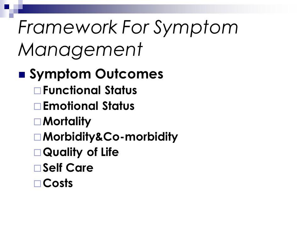 Framework For Symptom Management Symptom Outcomes Functional Status Emotional Status Mortality Morbidity&Co-morbidity Quality of Life Self Care Costs