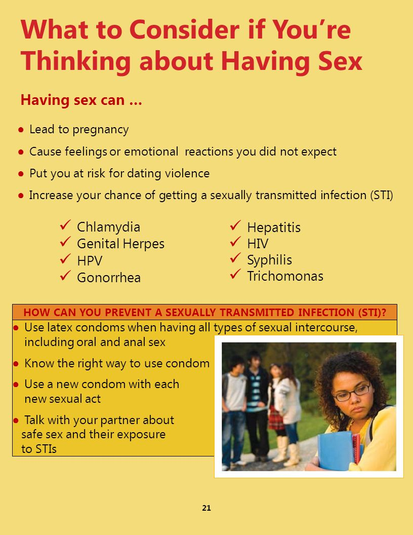 What to Consider if Youre Thinking about Having Sex Having sex can … Lead to pregnancy Cause feelings or emotional reactions you did not expect Put yo