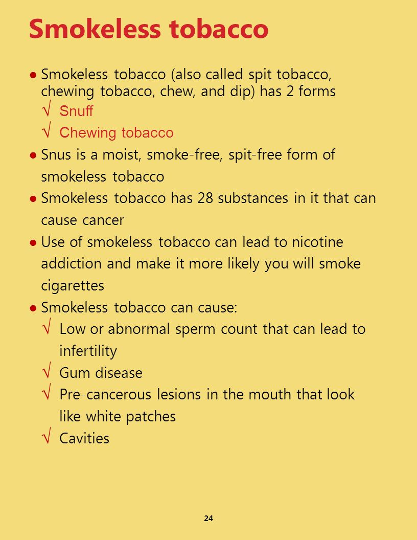 24 Smokeless tobacco Smokeless tobacco (also called spit tobacco, chewing tobacco, chew, and dip) has 2 forms Snuff Chewing tobacco Snus is a moist, s