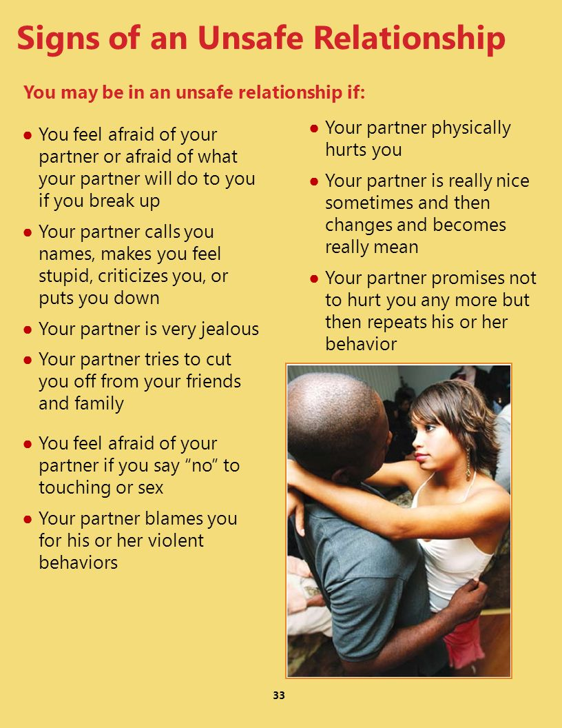 33 You feel afraid of your partner or afraid of what your partner will do to you if you break up Your partner calls you names, makes you feel stupid,