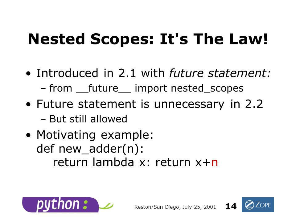 Reston/San Diego, July 25, 2001 14 Nested Scopes: It s The Law.