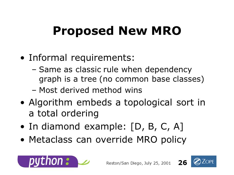 Reston/San Diego, July 25, 2001 26 Proposed New MRO Informal requirements: –Same as classic rule when dependency graph is a tree (no common base classes) –Most derived method wins Algorithm embeds a topological sort in a total ordering In diamond example: [D, B, C, A] Metaclass can override MRO policy