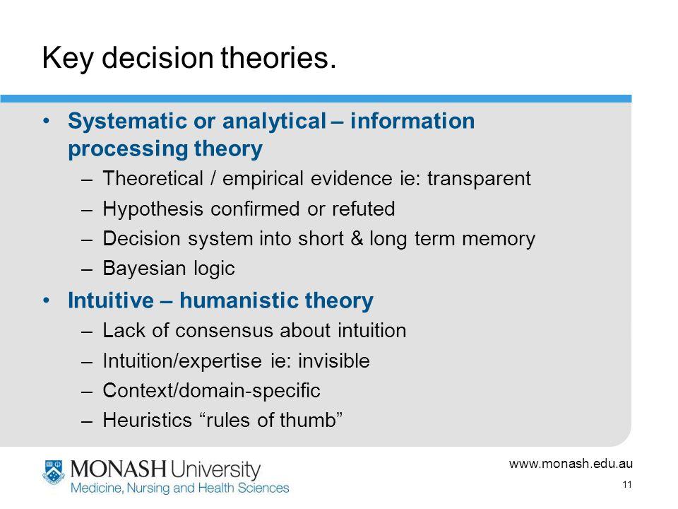 www.monash.edu.au 11 Key decision theories.