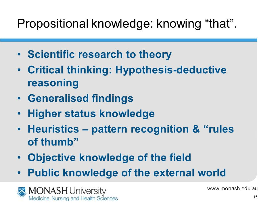 www.monash.edu.au 15 Propositional knowledge: knowing that.