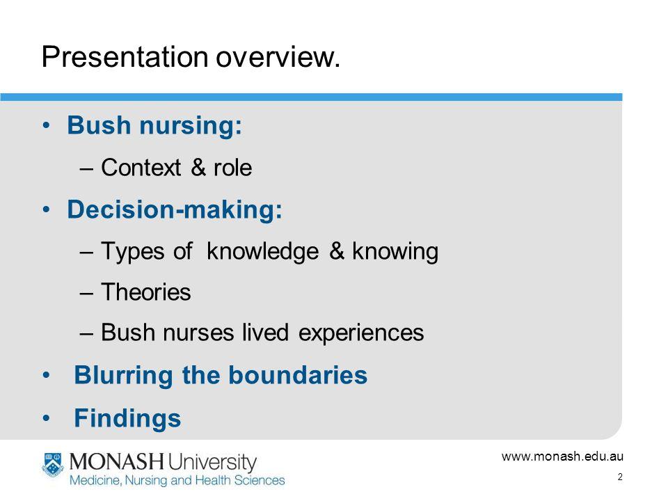 www.monash.edu.au 2 Presentation overview.