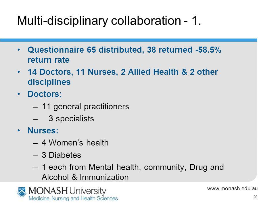 www.monash.edu.au 20 Multi-disciplinary collaboration - 1.