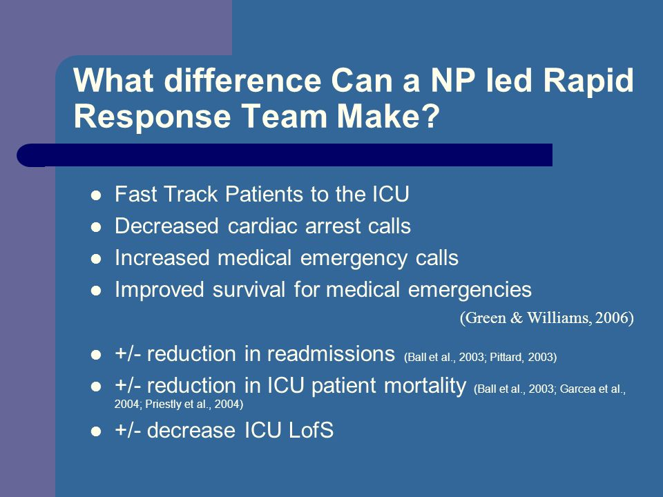 What difference Can a NP led Rapid Response Team Make? Fast Track Patients to the ICU Decreased cardiac arrest calls Increased medical emergency calls