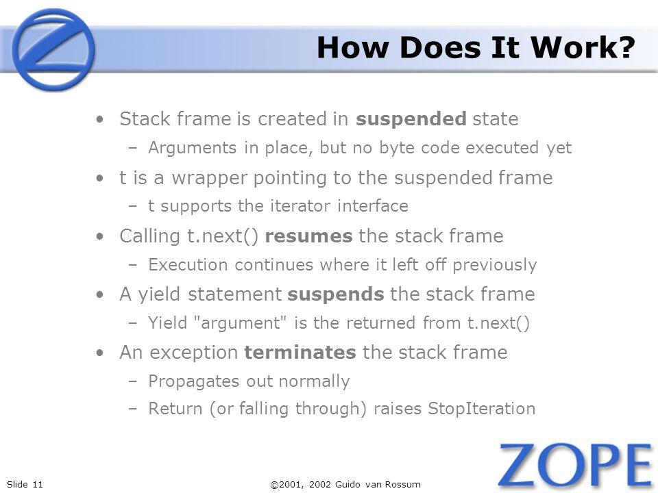 Slide 11©2001, 2002 Guido van Rossum How Does It Work.