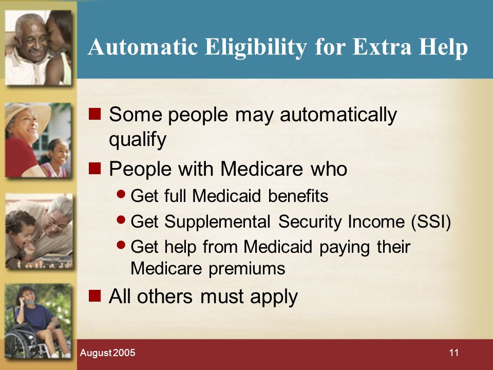 August Automatic Eligibility for Extra Help Some people may automatically qualify People with Medicare who Get full Medicaid benefits Get Supplemental Security Income (SSI) Get help from Medicaid paying their Medicare premiums All others must apply