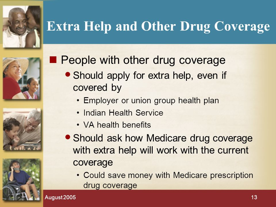 August 200513 Extra Help and Other Drug Coverage People with other drug coverage Should apply for extra help, even if covered by Employer or union group health plan Indian Health Service VA health benefits Should ask how Medicare drug coverage with extra help will work with the current coverage Could save money with Medicare prescription drug coverage