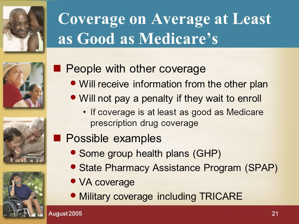 August Coverage on Average at Least as Good as Medicares People with other coverage Will receive information from the other plan Will not pay a penalty if they wait to enroll If coverage is at least as good as Medicare prescription drug coverage Possible examples Some group health plans (GHP) State Pharmacy Assistance Program (SPAP) VA coverage Military coverage including TRICARE