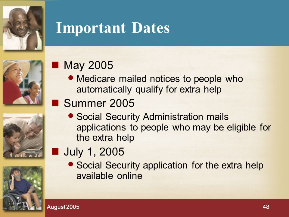 August 200548 Important Dates May 2005 Medicare mailed notices to people who automatically qualify for extra help Summer 2005 Social Security Administration mails applications to people who may be eligible for the extra help July 1, 2005 Social Security application for the extra help available online