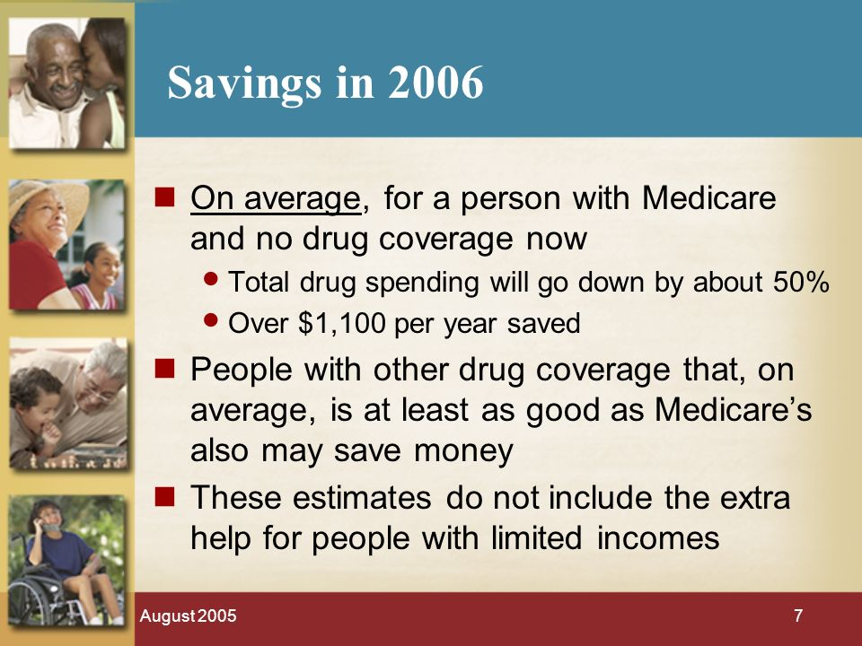 August 20057 Savings in 2006 On average, for a person with Medicare and no drug coverage now Total drug spending will go down by about 50% Over $1,100 per year saved People with other drug coverage that, on average, is at least as good as Medicares also may save money These estimates do not include the extra help for people with limited incomes