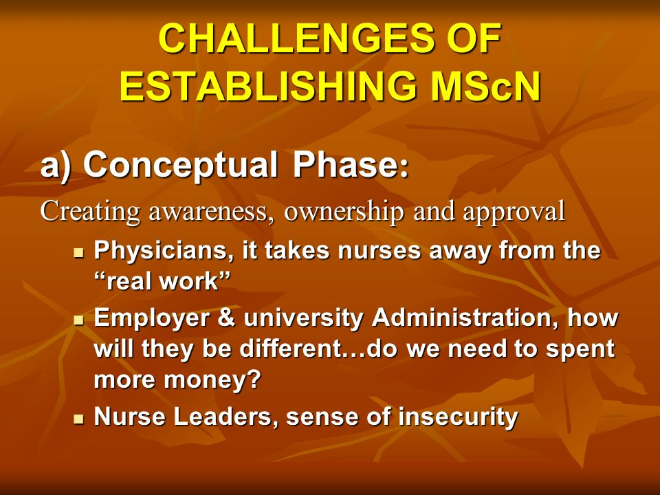 CHALLENGES OF ESTABLISHING MScN a) Conceptual Phase : Creating awareness, ownership and approval Physicians, it takes nurses away from the real work Physicians, it takes nurses away from the real work Employer & university Administration, how will they be different…do we need to spent more money.