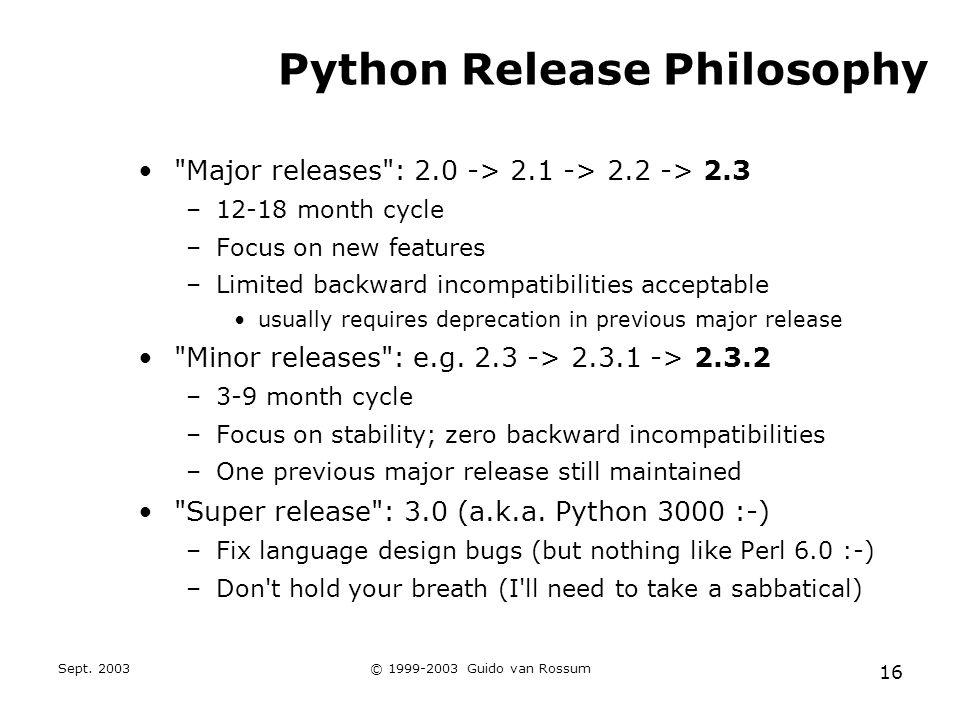 Sept. 2003© 1999-2003 Guido van Rossum 16 Python Release Philosophy