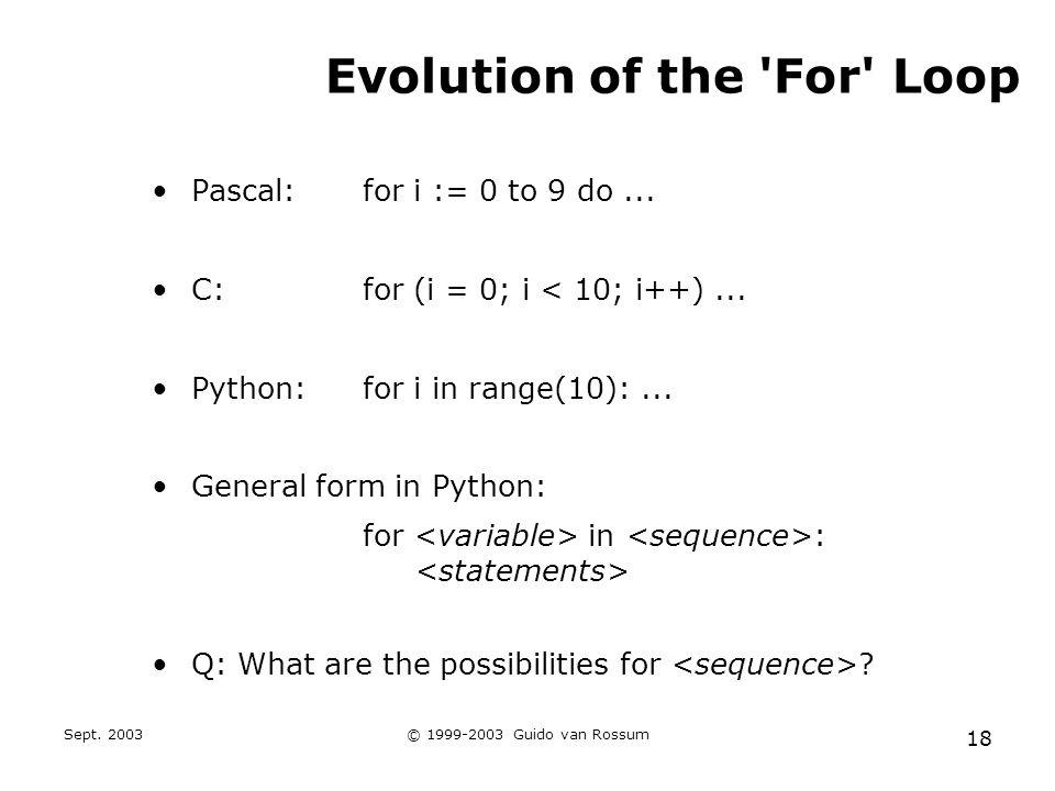 Sept. 2003© 1999-2003 Guido van Rossum 18 Evolution of the 'For' Loop Pascal:for i := 0 to 9 do... C:for (i = 0; i < 10; i++)... Python:for i in range