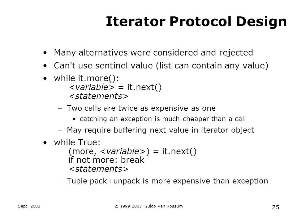 Sept. 2003© 1999-2003 Guido van Rossum 25 Iterator Protocol Design Many alternatives were considered and rejected Can't use sentinel value (list can c
