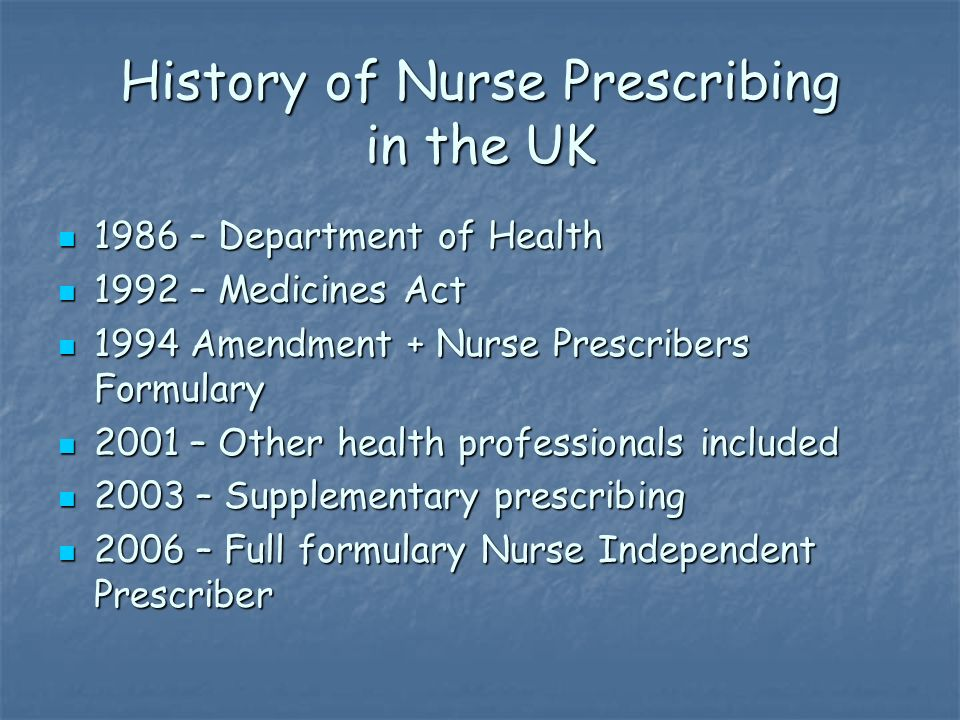 History of Nurse Prescribing in the UK 1986 – Department of Health 1986 – Department of Health 1992 – Medicines Act 1992 – Medicines Act 1994 Amendment + Nurse Prescribers Formulary 1994 Amendment + Nurse Prescribers Formulary 2001 – Other health professionals included 2001 – Other health professionals included 2003 – Supplementary prescribing 2003 – Supplementary prescribing 2006 – Full formulary Nurse Independent Prescriber 2006 – Full formulary Nurse Independent Prescriber