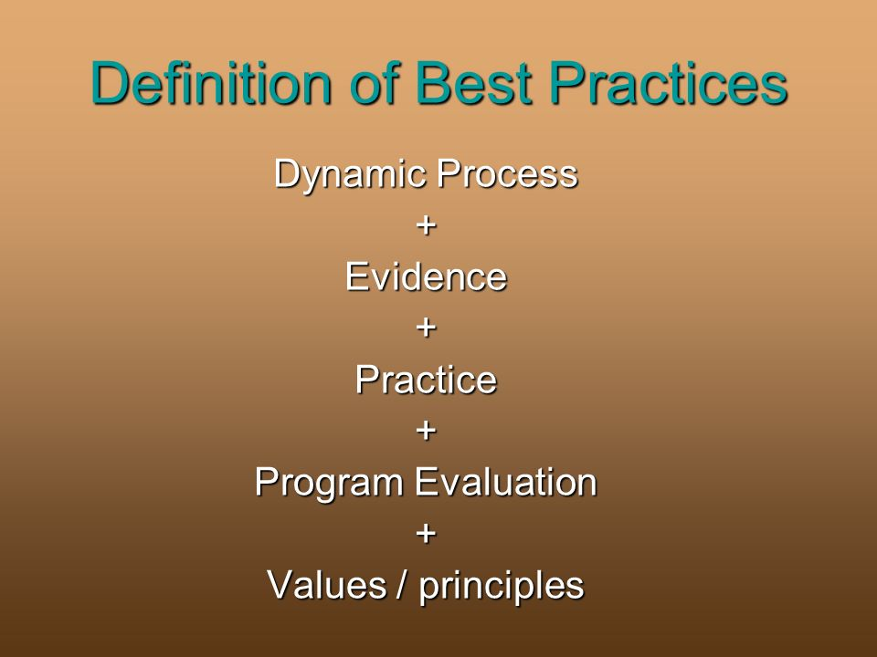 Definition of Best Practices Dynamic Process +Evidence+Practice+ Program Evaluation + Values / principles