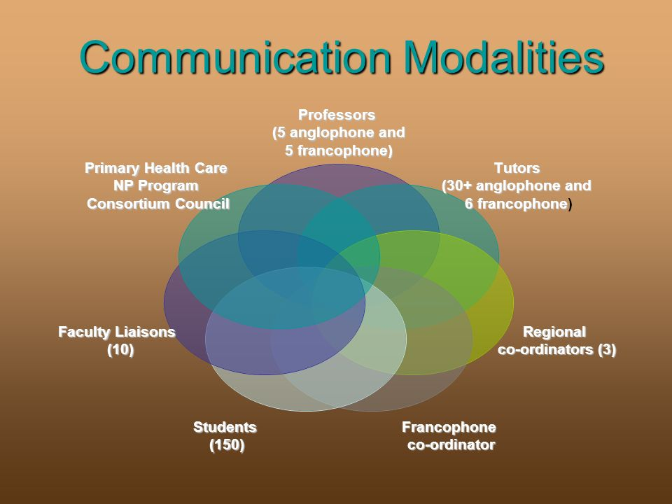 Communication Modalities Communication ModalitiesProfessors (5 anglophone and 5 francophone) Tutors (30+ anglophone and 6 francophone 6 francophone) Regional co-ordinators (3) Francophoneco-ordinatorStudents(150) Faculty Liaisons (10) Primary Health Care NP Program Consortium Council
