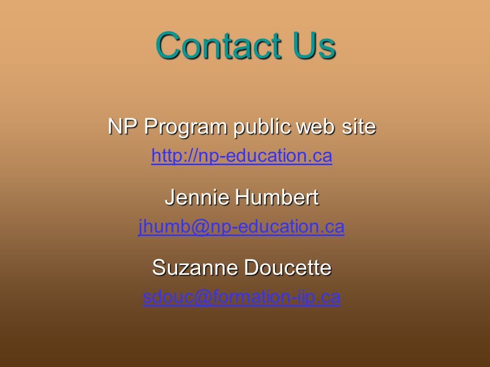 Contact Us NP Program public web site   Jennie Humbert Suzanne Doucette