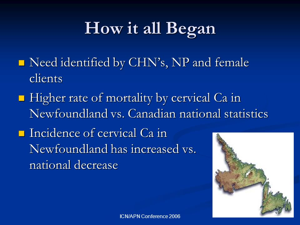 ICN/APN Conference 2006 How it all Began Need identified by CHNs, NP and female clients Need identified by CHNs, NP and female clients Higher rate of mortality by cervical Ca in Newfoundland vs.
