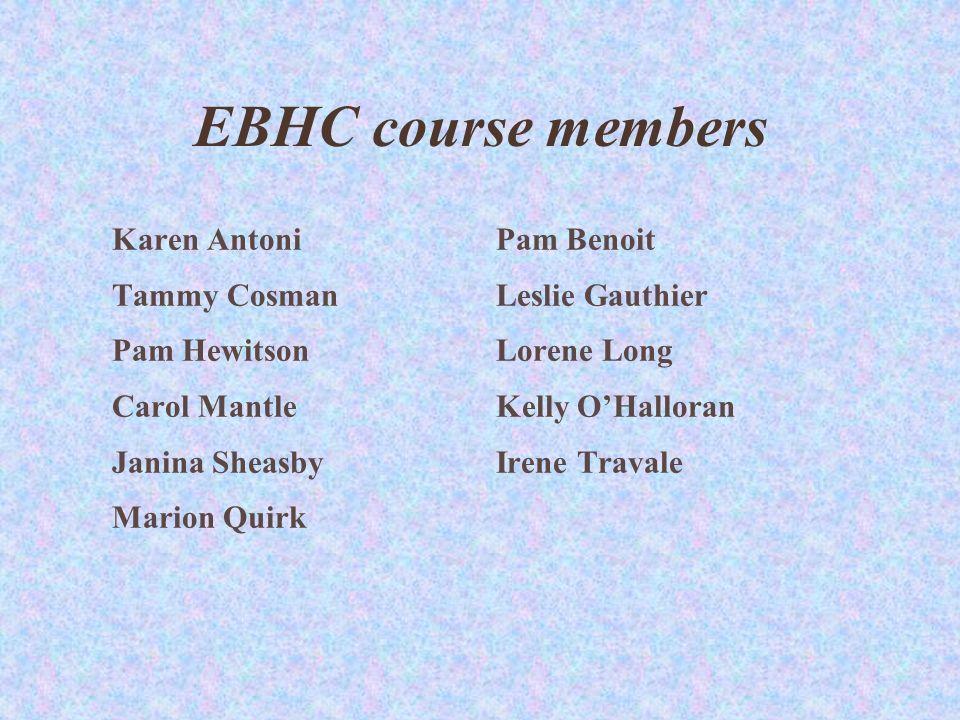EBHC course members Karen AntoniPam Benoit Tammy CosmanLeslie Gauthier Pam HewitsonLorene Long Carol MantleKelly OHalloran Janina SheasbyIrene Travale Marion Quirk