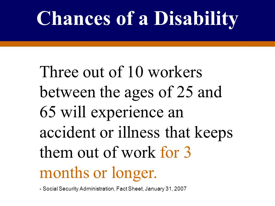 For Producer Education and Training Purposes Only Chances of a Disability Three out of 10 workers between the ages of 25 and 65 will experience an acc