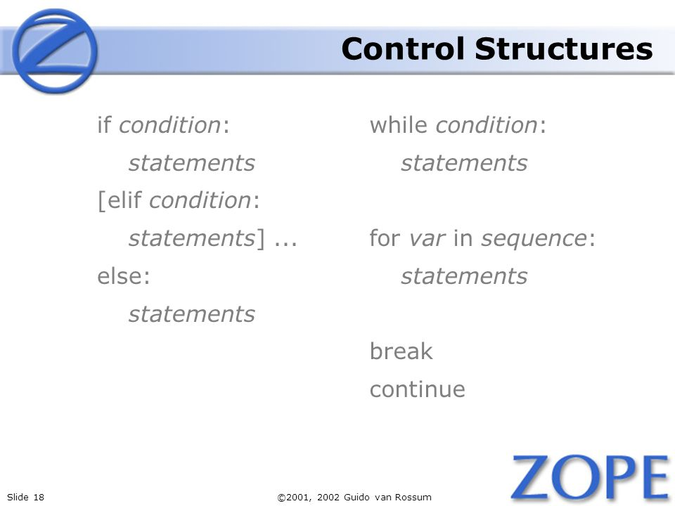 Slide 18©2001, 2002 Guido van Rossum Control Structures if condition: statements [elif condition: statements]...